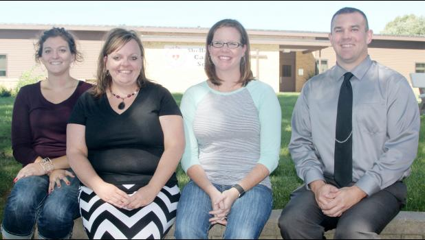 New teachers and administration at the Shelby County Catholic School include from left: Allison Gross, second grade; Cindy Schwery, music; Bree Malone, third grade; and Josh De Weerd, principal.  (Photo by Kim Wegener)