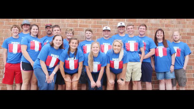 Students and chaperones on the Peru trip this week include front row L to R: Carmen Nelson, Kylee Hinz, Sara Markham, Bailey Heileson.  Back row L to R: Kyle Knudson, Will Hoffmann, Sydney Peterson, Gail Peterson, Tyler Buman, Robin Peterson, Parker Jones, Trey O'Neill, Dave Hoffmann, Kevin Campbell, Patrick Fah, Lisa Hagemeier, Seth Fiscus.  Not pictured: Jenna Brelje, Josie Lyon.  (Photo by Jacey Goetzman)
