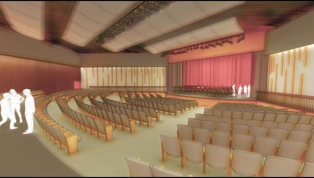 Concept drawing of what a new auditorium at HCHS could look like.  Courtesy CMBA Architects