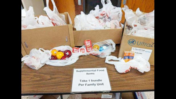 The sharing table at the high school.  There is a need for donations to stock this table for those who need.  (Photo contributed)