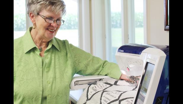 Verna Christensen with her sewing machine.  As an instructor, Christensen has worked around 30 years both in Harlan and around the nation.