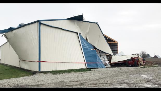 At approximately 7:30 p.m. Tuesday, Shelby County Emergency Management received a report of damage to buildings in the Walnut area, specifically in the 200 block of Quince Road northwest of Walnut.  Severe weather was in the area at the time of the report, and high wind reports had been received from Shelby County Sheriff Neil Gross who was patrolling in Elk Horn at the time.