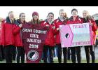 "The HCHS cross country girls are all smiles after being presented their 2019 state qualifier banner and ""ticket"" to the state meet. The Cyclones clinched their second consecutive state appearance by placing first at Thursday's Class 3A State Qualifying Meet in Atlantic. Left-right: Lucy Borkowski, Abby Alberti, Kaia Bieker, Abi Albertsen, Olivia Anderson, Brecken Van Baale and Liv Freund."