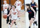 HCHS junior Ashley Hall pushes the ball upcourt as Jillian Shanks of Abraham Lincoln (left) goes for a steal. Also defending for the Lynx is Alexis Pomernackas (22). AL raced out to a 32-11 first-half lead and beat the Cyclones 64-39. (Photos by Mike Oeffner)