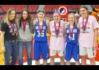 This year's All-Tournament Team members include, left-right: Sophia Peppers, Exira-EHK; Alli Masters, Central Decatur; Megan Morenz, Newell-Fonda; Rylee Menster, Springville; Olivia Larsen, Newell-Fonda; and Mikayla Nachazel, Springville, who was named 1A captain for the third year in a row. (Photo courtesy of Scott Kilbride)