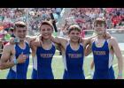 STATE CHAMPS -- The AHSTW boys 4x200 relay team brought home the schools' first relay state title since 1985 by winning the event this past Friday at Drake Stadium. Left-right: Relay team members include Gage Clay, Drake Partridge, Korbin Martin and Jake Martin.