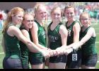 Members of the IKM-M girls' fifth-place 4x800 relay team, plus alternates, left-right: Cassidy Branning, Kia Rasmussen, Payton Sporrer, Shyanne Sporrer, Gabby Cadwell, Emma Beerman.