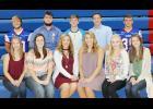 AHSTW homecoming candidates include front L to R -- Josey Jacobsen, Sarah Butcher, Sidney Nelsen, Morgan Eckmann, Heidi Hall and Josie Denning.  Back L to R -- Hayden Woltmann, AJ Sieh, Jake Martin, RJ Harris and Gage Clay.