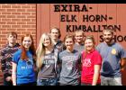 Homecoming candidates at Exira-EHK include front L to R -- Emily Greving, Kassidy Jensen, Rose Andersen and Carly Paulsen.  Back L to R -- Austin Malloy, Brady Hansen, John Schultes and Nelson Zach.  (Photo contributed)