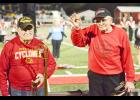 Don Petersen (left) and Phil Madson were honored Friday night for being members of the original Harlan Marching Band back in 1936.