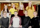 Pictured are front, from left: Tim Mumm, Parker Jones, Andrew Shelton and Jayden Swanson. Back from left: Macy Neese, Caitlin Bissen, Katelyn Kluver and Amelia Juhl.